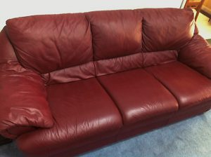 Leather sofa after repair